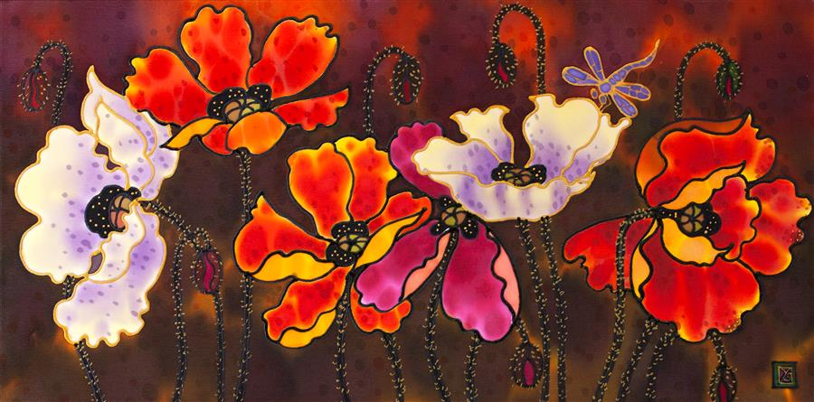 Original art for sale at UGallery.com | Poppies 4 by Yelena Sidorova | $550 | mixed media artwork | 12' h x 24' w | ..\art\mixed-media-artwork-Poppies-4