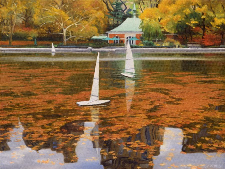 Original art for sale at UGallery.com | Three Boats on Conservatory Water by Nick Savides | $875 | oil painting | 9' h x 12' w | ..\art\oil-painting-Three-Boats-on-Conservatory-Water