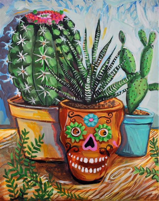 Original art for sale at UGallery.com | Cactus Garden by KIRA YUSTAK | $725 |  | 20' h x 16' w | ..\art\acrylic-painting-Cactus-Garden
