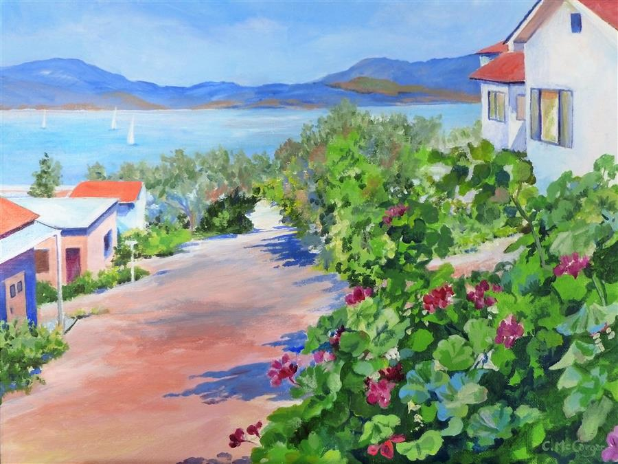 Original art for sale at UGallery.com | With a View to the Water by Catherine McCargar | $750 | acrylic painting | 12' h x 16' w | ..\art\acrylic-painting-With-a-View-to-the-Water