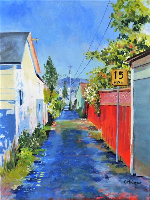 Original art for sale at UGallery.com | Alley View by Catherine McCargar | $750 | acrylic painting | 16' h x 12' w | ..\art\acrylic-painting-Alley-View