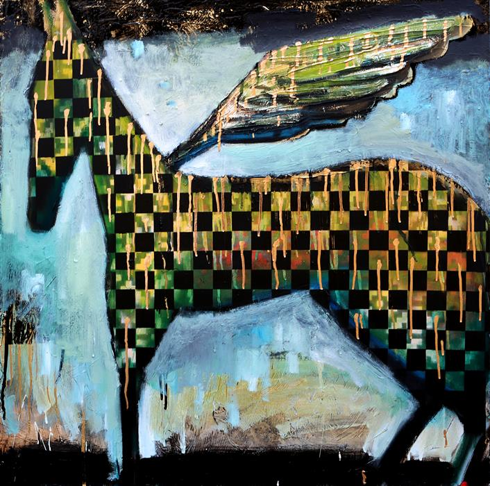 Original art for sale at UGallery.com | A Nighttime Checkered Horse With Wings by Scott Dykema | $2,800 | mixed media artwork | 36' h x 36' w | ..\art\mixed-media-artwork-A-Nighttime-Checkered-Horse-With-Wings
