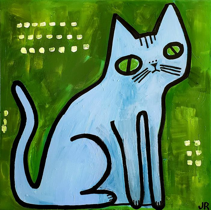 Original art for sale at UGallery.com | Blue Cat on Green by JESSICA JH ROLLER | $575 |  | 20' h x 20' w | ..\art\acrylic-painting-Blue-Cat-on-Green