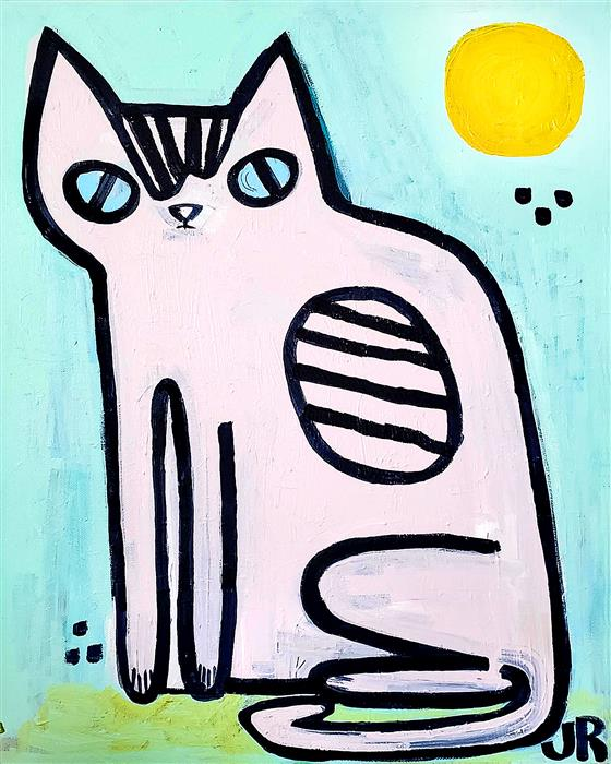 Original art for sale at UGallery.com | Kitty with Blue Eyes by JESSICA JH ROLLER | $475 |  | 20' h x 16' w | ..\art\acrylic-painting-Kitty-with-Blue-Eyes