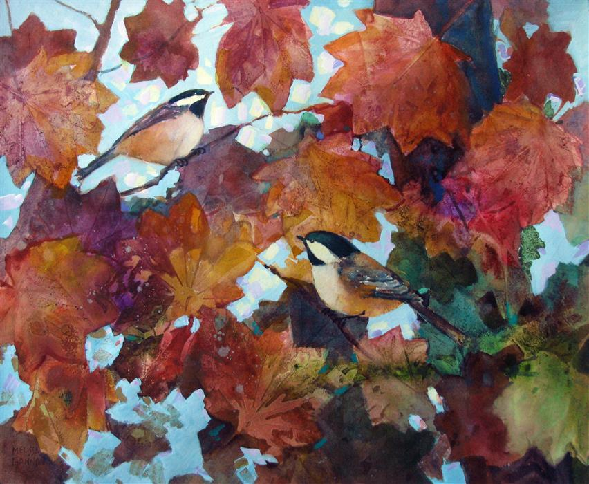 Original art for sale at UGallery.com | Fluttery Leaves by Melissa Gannon | $550 | mixed media artwork | 15' h x 18.25' w | ..\art\mixed-media-artwork-Fluttery-Leaves