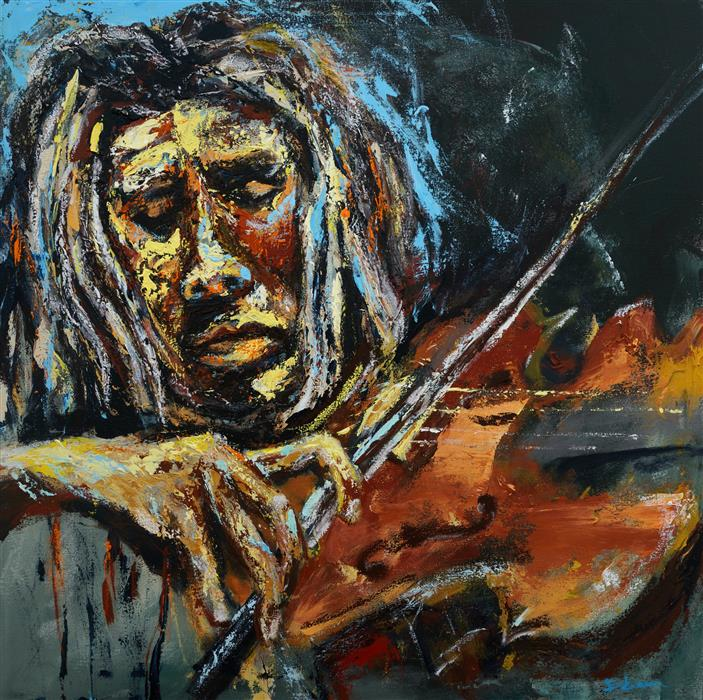 Original art for sale at UGallery.com | Locks and Fiddle by Wynston Edun | $3,200 | acrylic painting | 30' h x 30' w | ..\art\acrylic-painting-Locks-and-Fiddle