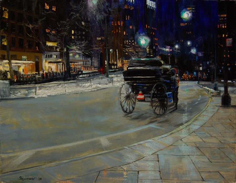 Original art for sale at UGallery.com | Drizzle on Fifty-Ninth Street by Onelio Marrero | $875 | oil painting | 14' h x 18' w | ..\art\oil-painting-Drizzle-on-Fifty-Ninth-Street