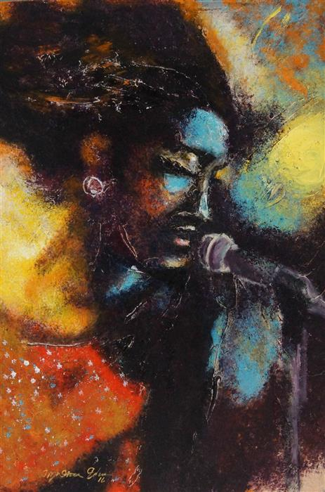 Original art for sale at UGallery.com | Soul Singer by Wynston Edun | $3,200 | acrylic painting | 36' h x 24' w | ..\art\acrylic-painting-Soul-Singer