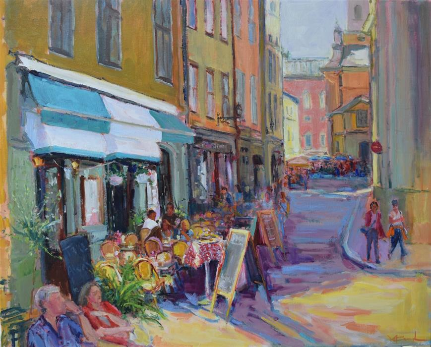 Original art for sale at UGallery.com   Old City by Mickey Cunningham   $1,175   oil painting   24' h x 30' w   ..\art\oil-painting-Old-City