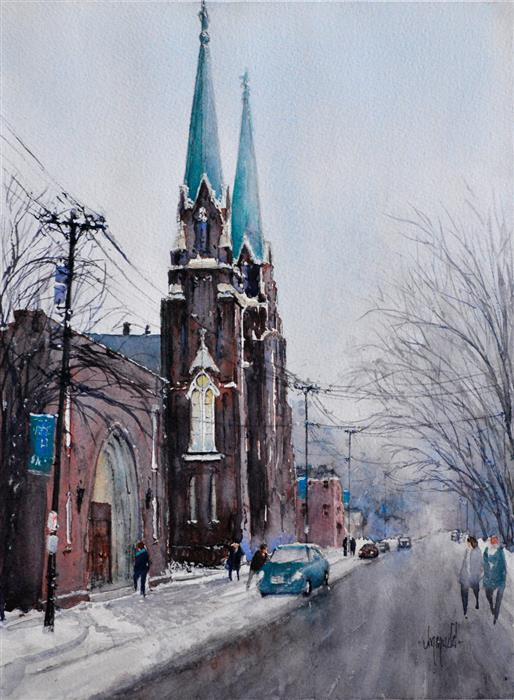 Original art for sale at UGallery.com | Twin Steeples by JUDY MUDD | $775 |  | 15' h x 11' w | ..\art\watercolor-painting-Twin-Steeples