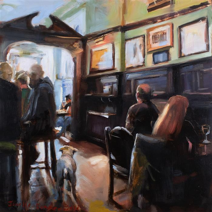 Original art for sale at UGallery.com | Pub Puppy by JONELLE SUMMERFIELD | $525 |  | 12' h x 12' w | ..\art\oil-painting-Pub-Puppy