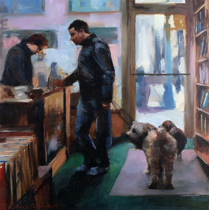 Original art for sale at UGallery.com | NYC Bookstore by JONELLE SUMMERFIELD | $625 |  | 16' h x 16' w | ..\art\oil-painting-NYC-Bookstore