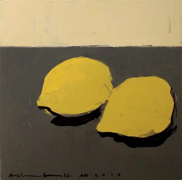 Original art for sale at UGallery.com | Lemons IV - Still Life by Paulina Archambault | $350 | acrylic painting | 12' h x 12' w | ..\art\acrylic-painting-Lemons-IV-Still-Life