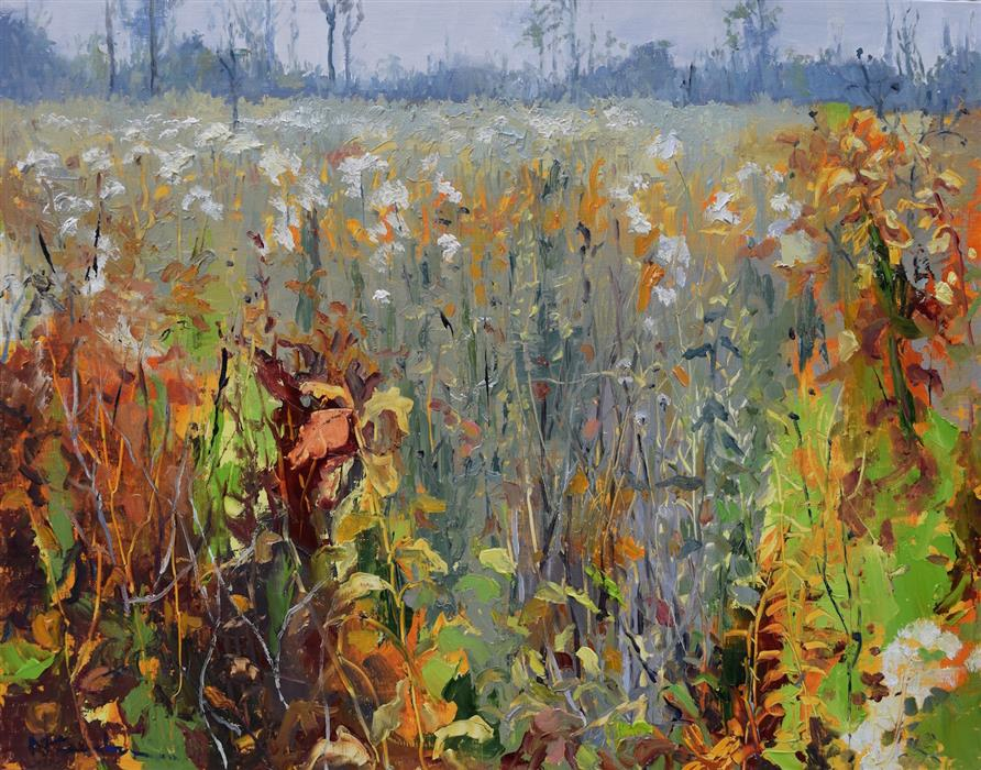 Original art for sale at UGallery.com | Fall Prairie by Mickey Cunningham | $500 | oil painting | 14' h x 18' w | ..\art\oil-painting-Fall-Prairie