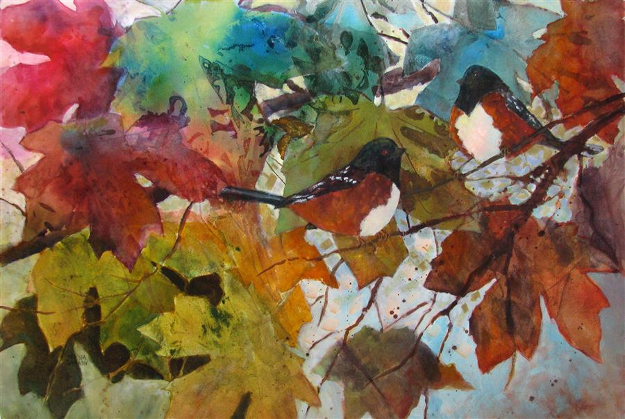 Original art for sale at UGallery.com | Leaves & Towhees by MELISSA GANNON | $625 |  | 15' h x 22' w | ..\art\mixed-media-artwork-Leaves-Towhees