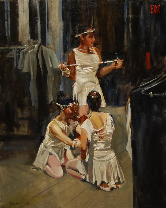 Original art for sale at UGallery.com | Backstage by Onelio Marrero | $875 | oil painting | 20' h x 16' w | ..\art\oil-painting-Backstage
