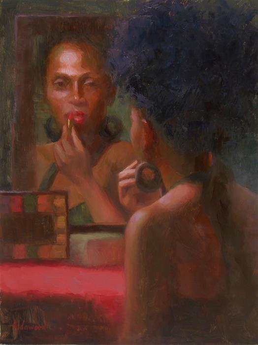 Original art for sale at UGallery.com | The Face in the Mirror by SHERRI ALDAWOOD | $575 |  | 16' h x 12' w | ..\art\oil-painting-The-Face-in-the-Mirror