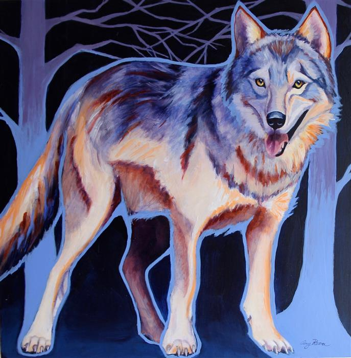 Original art for sale at UGallery.com | Gray Wolf by AMY RATTNER | $950 |  | 24' h x 24' w | ..\art\acrylic-painting-Gray-Wolf