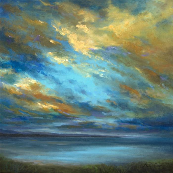 Original art for sale at UGallery.com | Coastal Clouds - 40 by Sheila Finch | $2,350 | oil painting | 20' h x 20' w | ..\art\oil-painting-Coastal-Clouds-40