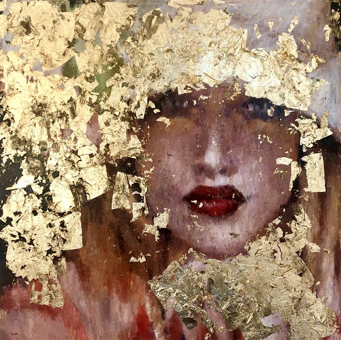 Original art for sale at UGallery.com | Gold Dust Woman by NAVA LUNDY | $4,675 |  | 48' h x 48' w | ..\art\mixed-media-artwork-Gold-Dust-Woman