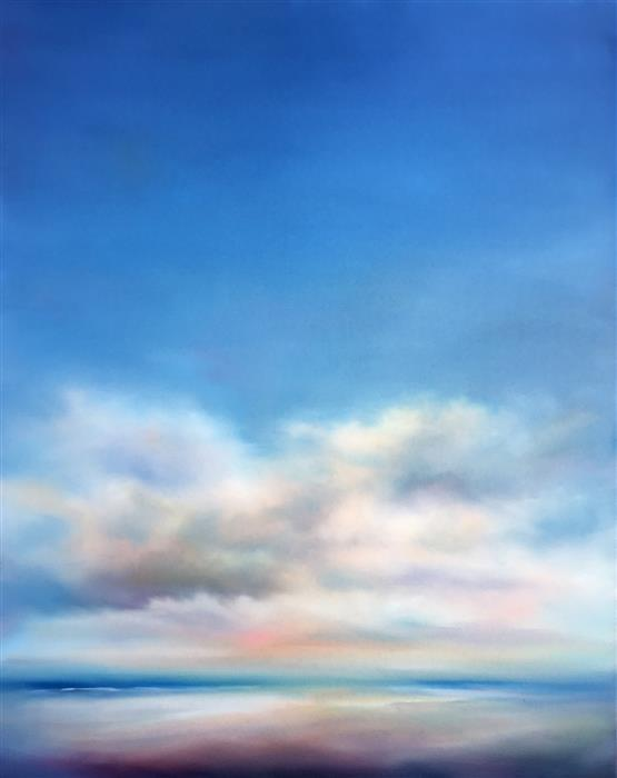 Original art for sale at UGallery.com | Morning Beach Clouds by NANCY HUGHES MILLER | $1,025 |  | 30' h x 24' w | ..\art\oil-painting-Morning-Beach-Clouds