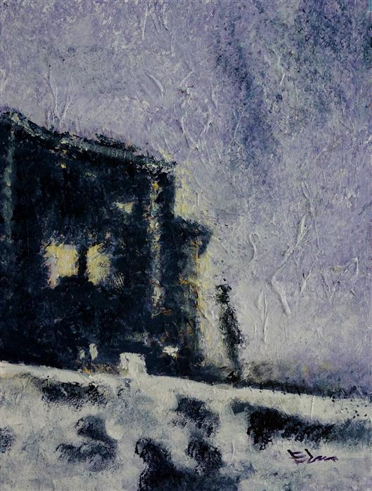 Original art for sale at UGallery.com | Snowy Night by Wynston Edun | $775 | acrylic painting | 16' h x 12' w | ..\art\acrylic-painting-Snowy-Night