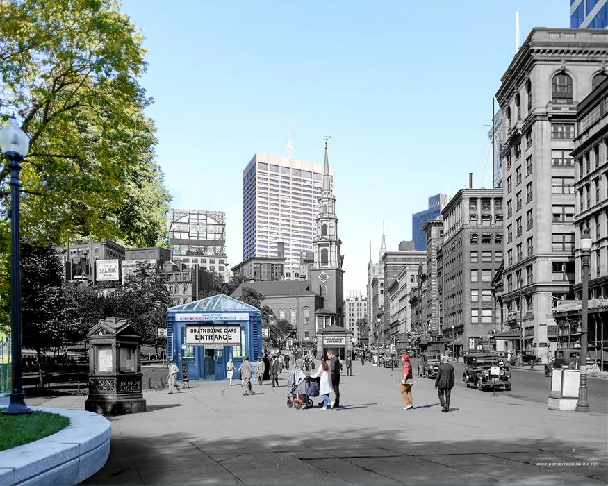Original art for sale at UGallery.com | Subway Entrances - Boston Common by Mark Hersch | $25 | photography | 32' h x 40' w | ..\art\photography-Subway-Entrances-Boston-Common