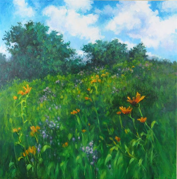 Original art for sale at UGallery.com | Upland Meadow in Bloom by Suzanne Massion | $750 | oil painting | 24' h x 24' w | ..\art\oil-painting-Upland-Meadow-in-Bloom