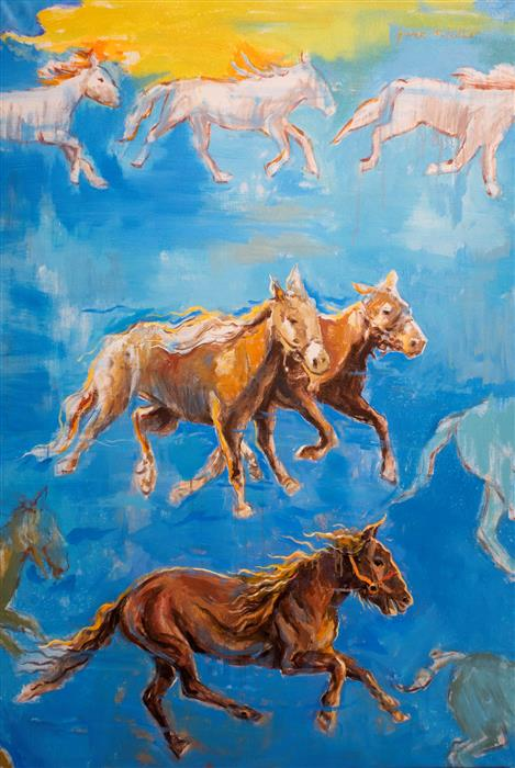 Original art for sale at UGallery.com | Horses in My Dream 01 by YUVAK TULADHAR | $3,500 |  | 54' h x 36' w | ..\art\acrylic-painting-Horses-in-My-Dream-01