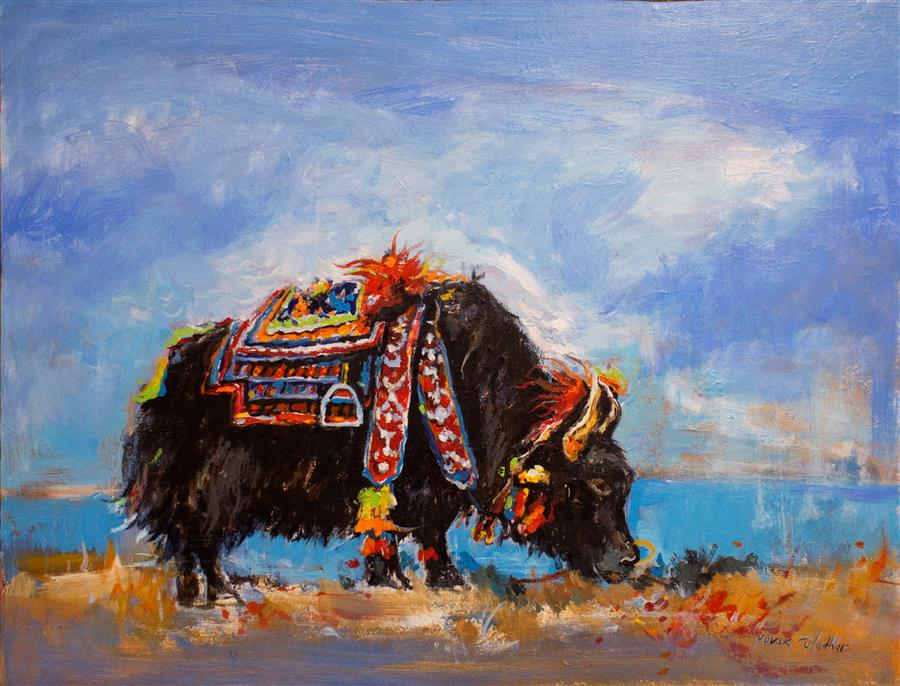 Original art for sale at UGallery.com | Yak against a Blue Sky by YUVAK TULADHAR | $2,100 |  | 28' h x 36' w | ..\art\acrylic-painting-Yak-against-a-Blue-Sky