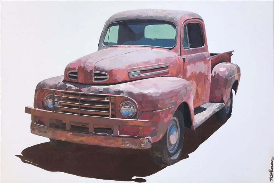 Original art for sale at UGallery.com | Old Red by KEITH THOMSON | $900 |  | 24' h x 36' w | ..\art\mixed-media-artwork-Old-Red