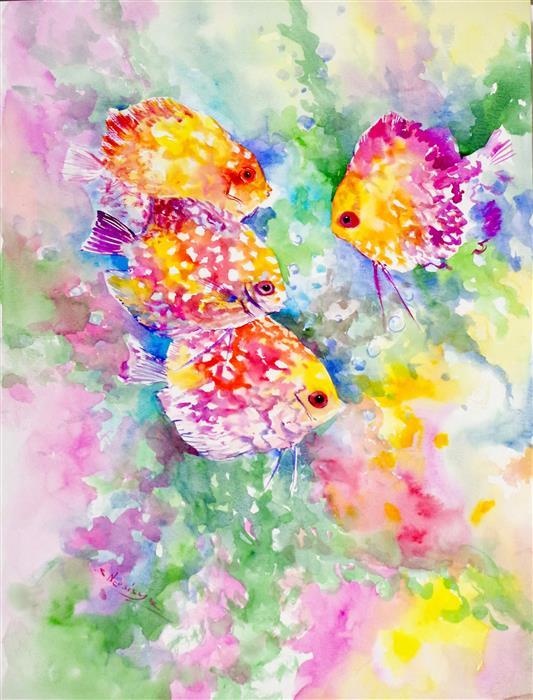 Original art for sale at UGallery.com | The World of Discus by Suren Nersisyan | $350 | watercolor painting | 24' h x 18' w | ..\art\watercolor-painting-The-World-of-Discus