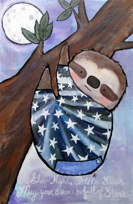 Original art for sale at UGallery.com | Good Night, Little Sloth by ANDREA DOSS | $950 |  | 36' h x 24' w | ..\art\acrylic-painting-Good-Night-Little-Sloth