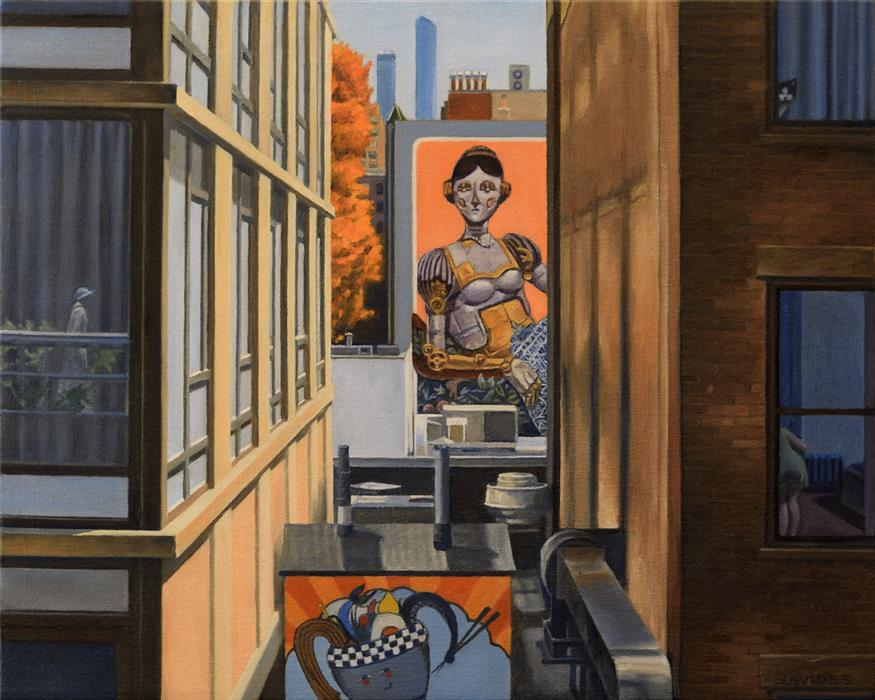 Original art for sale at UGallery.com | High Line View with Robot Lady by Nick Savides | $2,100 | oil painting | 16' h x 20' w | ..\art\oil-painting-High-Line-View-with-Robot-Lady