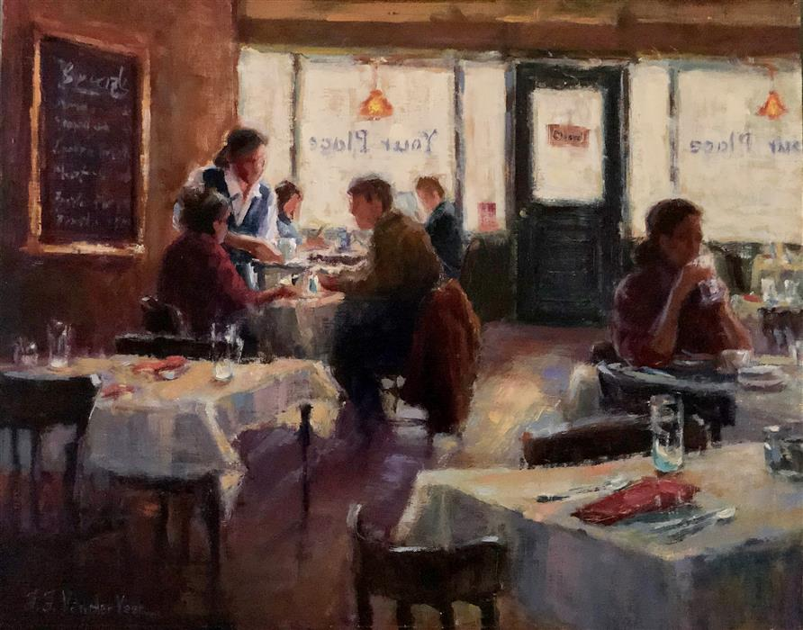 Original art for sale at UGallery.com | Breakfast at Your Place by Faye Vander Veer | $2,100 | oil painting | 16' h x 20' w | ..\art\oil-painting-Breakfast-at-Your-Place