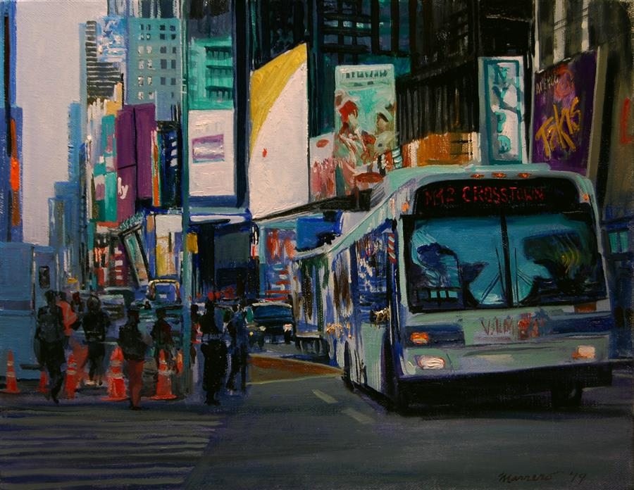 Original art for sale at UGallery.com | Crosstown by Onelio Marrero | $675 | oil painting | 11' h x 14' w | ..\art\oil-painting-Crosstown