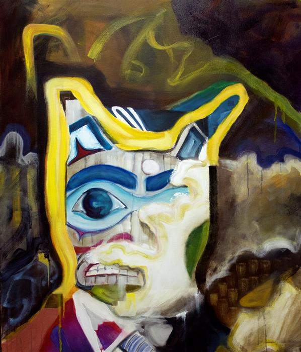 Original art for sale at UGallery.com | Shame Totem by Gregory Fricker | $2,025 | oil painting | 45' h x 38.25' w | ..\art\oil-painting-Shame-Totem