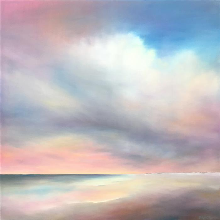 Original art for sale at UGallery.com | Oceanside Late Day by NANCY HUGHES MILLER | $3,375 |  | 48' h x 48' w | ..\art\oil-painting-Oceanside-Late-Day