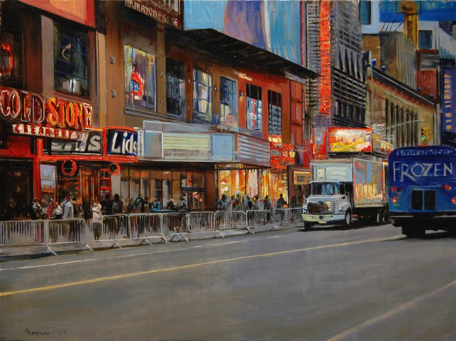 Original art for sale at UGallery.com | Cold Snap on Forty Second Street by ONELIO MARRERO | $1,050 |  | 18' h x 24' w | ..\art\oil-painting-Cold-Snap-on-Forty-Second-Street