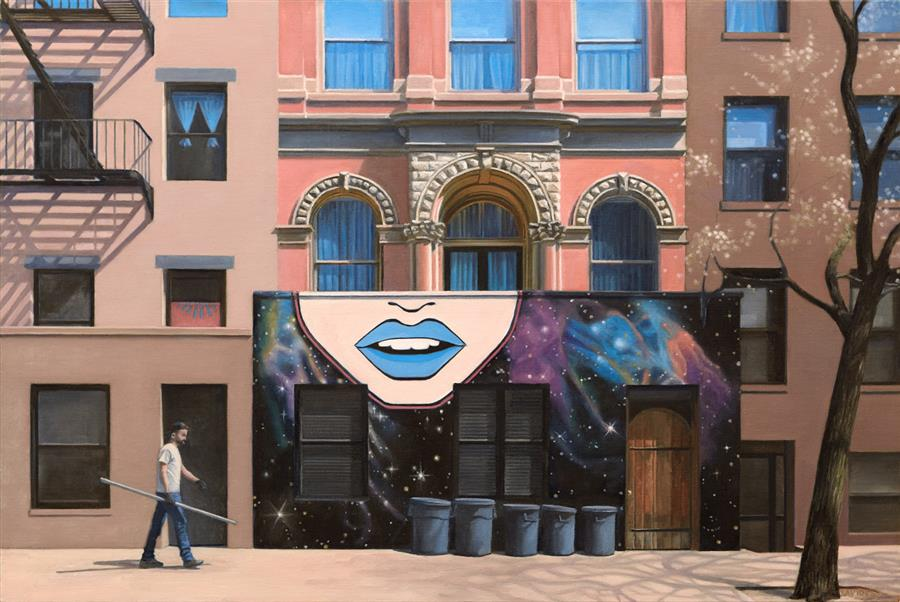 Original art for sale at UGallery.com | On St Marks Place by Nick Savides | $3,700 | oil painting | 24' h x 36' w | ..\art\oil-painting-On-St-Marks-Place