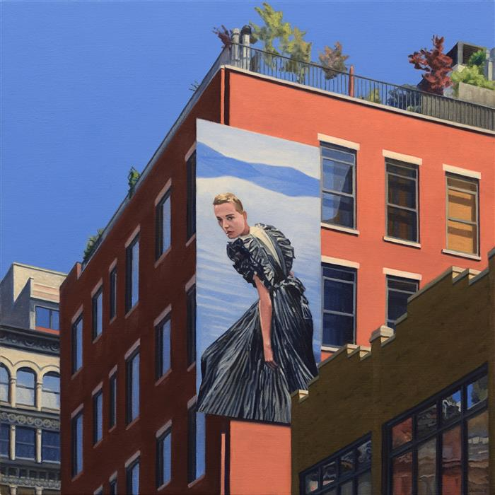 Original art for sale at UGallery.com | Ulla Johnson on Lafayette Street by Nick Savides | $2,850 | oil painting | 24' h x 24' w | ..\art\oil-painting-Ulla-Johnson-on-Lafayette-Street