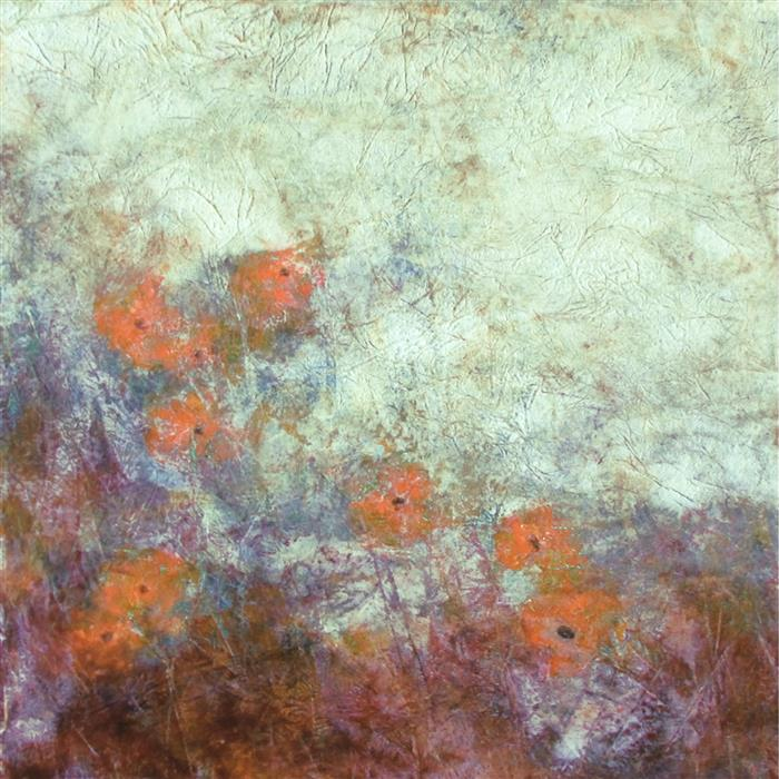 Original art for sale at UGallery.com | My Monet Moment: Wild Poppies I by Valerie Berkely | $325 | oil painting | 12' h x 12' w | ..\art\oil-painting-My-Monet-Moment-Wild-Poppies-I