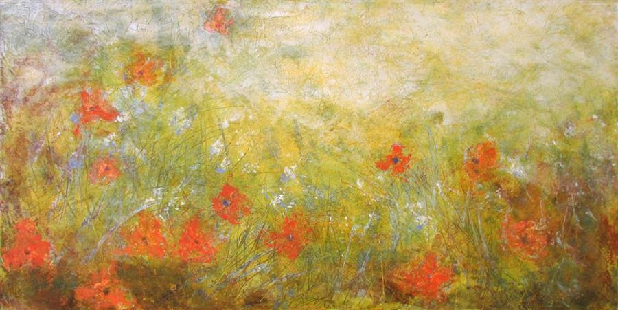 Original art for sale at UGallery.com | My Monet Moment: Wild Poppies II by Valerie Berkely | $400 | oil painting | 12' h x 24' w | ..\art\oil-painting-My-Monet-Moment-Wild-Poppies-II
