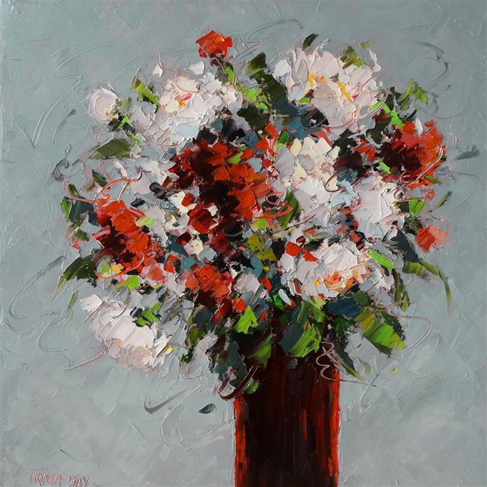 Original art for sale at UGallery.com | Cranberry Vase by Tricia May | $925 | oil painting | 18' h x 18' w | ..\art\oil-painting-Cranberry-Vase