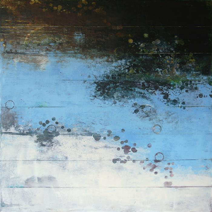 Original art for sale at UGallery.com | Submergence Series #1 by Martha McCowin | $2,775 | mixed media artwork | 32' h x 32' w | ..\art\mixed-media-artwork-Submergence-Series-1