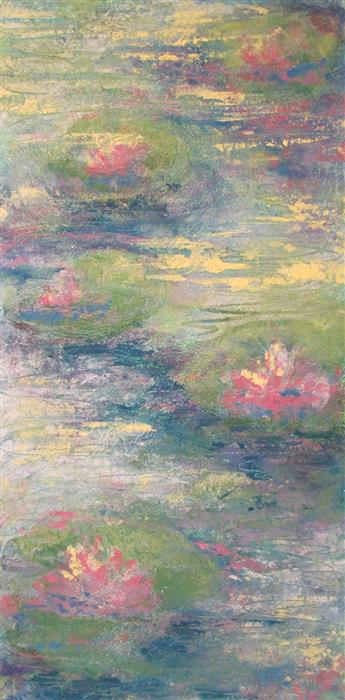 Original art for sale at UGallery.com | My Monet Moment: Lily Pads I by Valerie Berkely | $400 | oil painting | 24' h x 12' w | ..\art\oil-painting-My-Monet-Moment-Lily-Pads-I