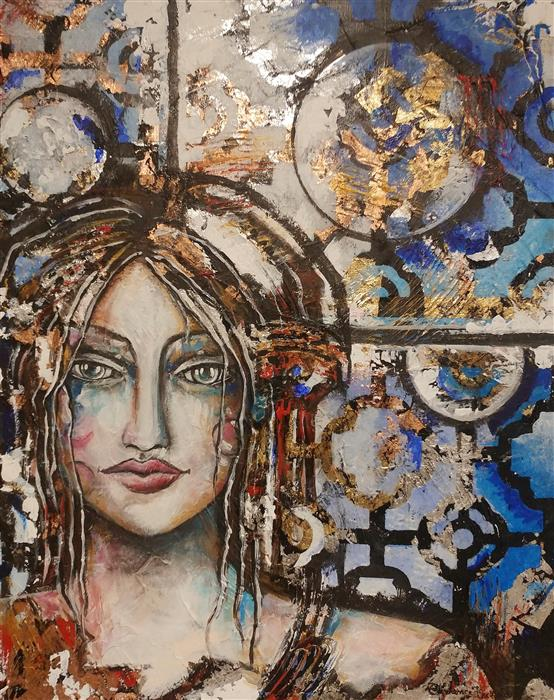 Original art for sale at UGallery.com | The Lady Warrior of the Earth by Clemence Dubois | $1,625 | mixed media artwork | 30' h x 24' w | ..\art\mixed-media-artwork-The-Lady-Warrior-of-the-Earth