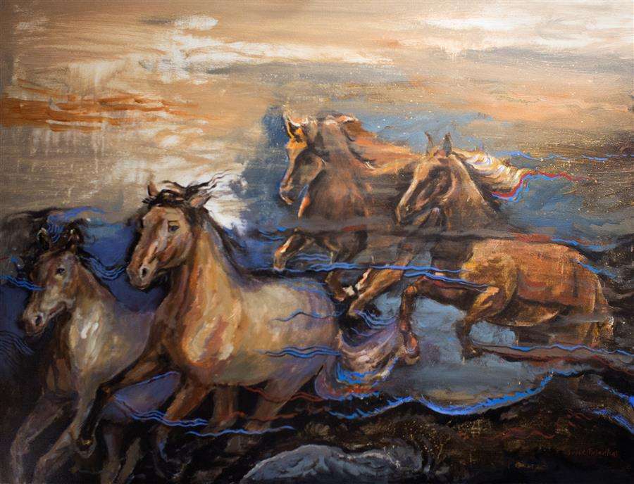 Original art for sale at UGallery.com | Horses in My Dream 03 by YUVAK TULADHAR | $3,325 |  | 36' h x 48' w | ..\art\acrylic-painting-Horses-in-My-Dream-03