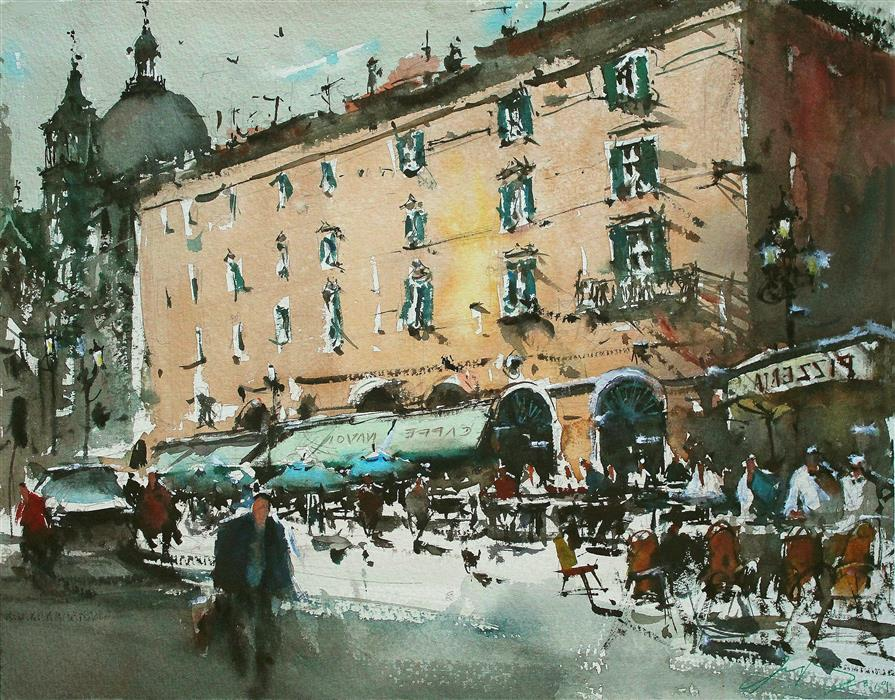 Original art for sale at UGallery.com | Lunch Time in Piazza Navona by Maximilian Damico | $800 | watercolor painting | 11' h x 15' w | ..\art\watercolor-painting-Lunch-Time-in-Piazza-Navona