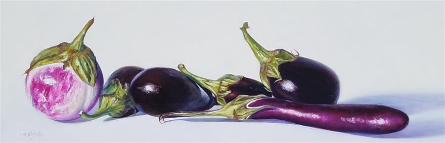 Original art for sale at UGallery.com | 6 Aubergine by Tami Cardnella | $1,850 | oil painting | 12' h x 36' w | ..\art\oil-painting-6-Aubergine